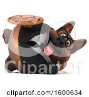 Clipart Of A 3d Business German Shepherd Dog Holding A Pizza On A White Background Royalty Free Illustration by Julos