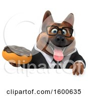 Clipart Of A 3d Business German Shepherd Dog Holding A Donut On A White Background Royalty Free Illustration by Julos