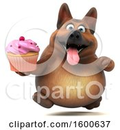 Clipart Of A 3d German Shepherd Dog Holding A Cupcake On A White Background Royalty Free Illustration by Julos