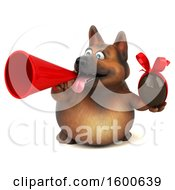 Clipart Of A 3d German Shepherd Dog Holding A Chocolate Egg On A White Background Royalty Free Illustration by Julos