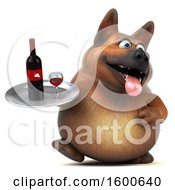 Clipart Of A 3d German Shepherd Dog Holding Wine On A White Background Royalty Free Illustration by Julos