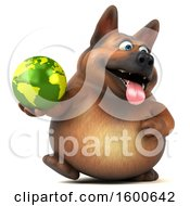 Clipart Of A 3d German Shepherd Dog Holding A Globe On A White Background Royalty Free Illustration by Julos