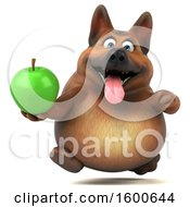 Clipart Of A 3d German Shepherd Dog Holding An Apple On A White Background Royalty Free Illustration by Julos