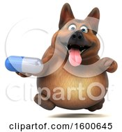 Clipart Of A 3d German Shepherd Dog Holding A Pill On A White Background Royalty Free Illustration by Julos