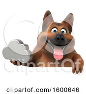 Clipart Of A 3d German Shepherd Dog Holding A Cloud On A White Background Royalty Free Illustration by Julos