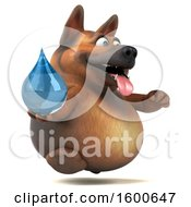 Clipart Of A 3d German Shepherd Dog Holding A Water Drop On A White Background Royalty Free Illustration by Julos