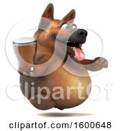 Clipart Of A 3d German Shepherd Dog Holding A Beer On A White Background Royalty Free Illustration by Julos