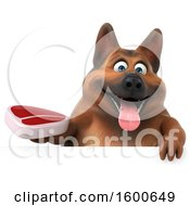 Clipart Of A 3d German Shepherd Dog Holding A Steak On A White Background Royalty Free Illustration by Julos