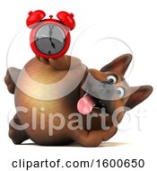 Clipart Of A 3d German Shepherd Dog Holding An Alarm Clock On A White Background Royalty Free Illustration by Julos
