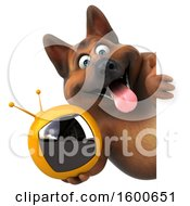 Clipart Of A 3d German Shepherd Dog Holding A Tv On A White Background Royalty Free Illustration by Julos
