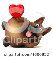 Clipart Of A 3d German Shepherd Dog Holding A Heart On A White Background Royalty Free Illustration by Julos