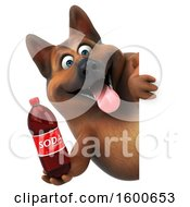 Clipart Of A 3d German Shepherd Dog Holding A Soda On A White Background Royalty Free Illustration by Julos