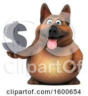 Clipart Of A 3d German Shepherd Dog Holding A Dollar Sign On A White Background Royalty Free Illustration by Julos