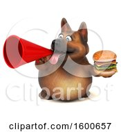 Clipart Of A 3d German Shepherd Dog Holding A Burger On A White Background Royalty Free Illustration by Julos