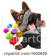 3d Business German Shepherd Dog Holding Messages On A White Background