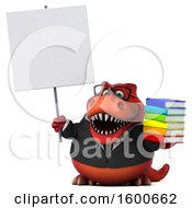 Clipart Of A 3d Red Business T Rex Dinosaur Holding Books On A White Background Royalty Free Illustration
