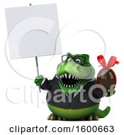 Clipart Of A 3d Green Business T Rex Dinosaur Holding A Chocolate Egg On A White Background Royalty Free Illustration