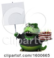 July 15th, 2018: Clipart Of A 3d Green Business T Rex Dinosaur Holding A Birthday Cake On A White Background Royalty Free Illustration by Julos