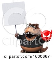 Clipart Of A 3d Brown Business T Rex Dinosaur Holding A Devil On A White Background Royalty Free Illustration