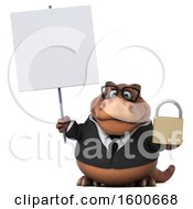July 15th, 2018: Clipart Of A 3d Brown Business T Rex Dinosaur Holding A Padlock On A White Background Royalty Free Illustration by Julos