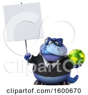 Clipart Of A 3d Blue Business T Rex Dinosaur Holding A Globe On A White Background Royalty Free Illustration