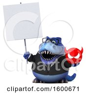 Clipart Of A 3d Blue Business T Rex Dinosaur Holding A Devil On A White Background Royalty Free Illustration