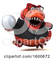 3d Red Business T Rex Dinosaur Holding A Golf Ball On A White Background