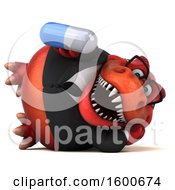 July 16th, 2018: Clipart Of A 3d Red Business T Rex Dinosaur Holding A Pill On A White Background Royalty Free Illustration by Julos