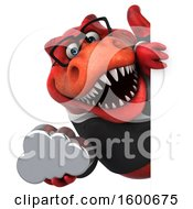 July 16th, 2018: Clipart Of A 3d Red Business T Rex Dinosaur Holding A Cloud On A White Background Royalty Free Illustration by Julos