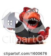 Clipart Of A 3d Red Business T Rex Dinosaur Holding A House On A White Background Royalty Free Illustration