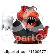 Clipart Of A 3d Red Business T Rex Dinosaur Holding A Tooth On A White Background Royalty Free Illustration
