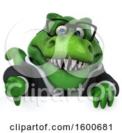 Clipart Of A 3d Green Business T Rex Dinosaur Holding A Thumb Down On A White Background Royalty Free Illustration