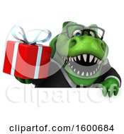 July 16th, 2018: Clipart Of A 3d Green Business T Rex Dinosaur Holding A Gift On A White Background Royalty Free Illustration by Julos