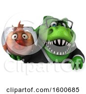3d Green Business T Rex Dinosaur Holding A Fish Bowl On A White Background