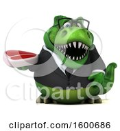 3d Green Business T Rex Dinosaur Holding A Steak On A White Background