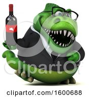 July 16th, 2018: Clipart Of A 3d Green Business T Rex Dinosaur Holding Wine On A White Background Royalty Free Illustration by Julos