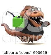July 16th, 2018: Clipart Of A 3d Brown Business T Rex Dinosaur Holding A Gas Can On A White Background Royalty Free Illustration by Julos