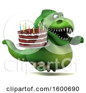 Poster, Art Print Of 3d Green T Rex Dinosaur Holding A Birthday Cake On A White Background