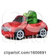 July 16th, 2018: Clipart Of A 3d Green T Rex Dinosaur Driving A Convertible On A White Background Royalty Free Illustration by Julos