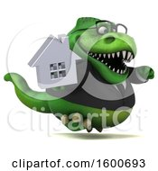 July 16th, 2018: Clipart Of A 3d Green Business T Rex Dinosaur Holding A House On A White Background Royalty Free Illustration by Julos