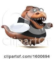 July 16th, 2018: Clipart Of A 3d Brown Business T Rex Dinosaur Holding A Plate On A White Background Royalty Free Illustration by Julos