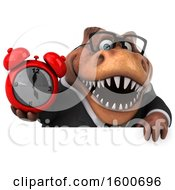 July 16th, 2018: Clipart Of A 3d Brown Business T Rex Dinosaur Holding An Alarm Clock On A White Background Royalty Free Illustration by Julos