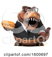 July 16th, 2018: Clipart Of A 3d Brown Business T Rex Dinosaur Holding A Hot Dog On A White Background Royalty Free Illustration by Julos