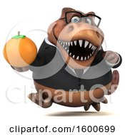 July 16th, 2018: Clipart Of A 3d Brown Business T Rex Dinosaur Holding An Orange On A White Background Royalty Free Illustration by Julos
