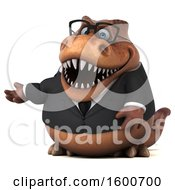 July 16th, 2018: Clipart Of A 3d Brown Business T Rex Dinosaur Presenting On A White Background Royalty Free Illustration by Julos