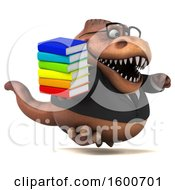 July 16th, 2018: Clipart Of A 3d Brown Business T Rex Dinosaur Holding Books On A White Background Royalty Free Illustration by Julos