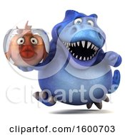 3d Blue T Rex Dinosaur Holding A Fish Bowl On A White Background