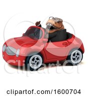 July 16th, 2018: Clipart Of A 3d Brown Business T Rex Dinosaur Driving A Convertible On A White Background Royalty Free Illustration by Julos