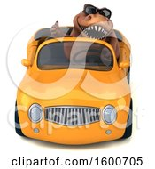 July 16th, 2018: Clipart Of A 3d Brown T Rex Dinosaur Driving A Convertible On A White Background Royalty Free Illustration by Julos