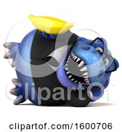 July 16th, 2018: Clipart Of A 3d Blue Business T Rex Dinosaur Holding A Banana On A White Background Royalty Free Illustration by Julos